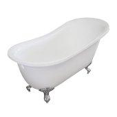 Single Slipper 55'' White Acrylic Clawfoot Tub with Chrome Feet, 55-1/4'' W x 27'' D x 32'' H