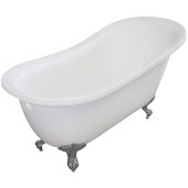 Single Slipper 67'' White Acrylic Clawfoot Tub with Brushed Nickel Feet, 66-1/2'' W x 30'' D x 32'' H