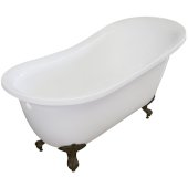 Single Slipper 67'' White Acrylic Clawfoot Tub with Bronze Feet, 66-1/2'' W x 30'' D x 32'' H