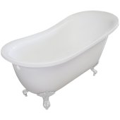 Single Slipper 67'' White Acrylic Clawfoot Tub with White Feet, 66-1/2'' W x 30'' D x 32'' H