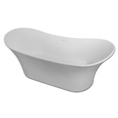 IZA Gloss 69'' White Contemporary Double Slipper Freestanding Cast Resin Insulated Bathtub, 68-7/8'' W x 28-3/4'' D x 27-9/16'' H