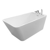 JUSTINIAN 55'' White Contemporary Rectangular Freestanding Acrylic Insulated Bathtub with Faucet Deck, 54-3/4'' W x 29-1/4'' D x 23'' H