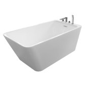 JUSTINIAN 59'' White Contemporary Rectangular Freestanding Acrylic Insulated Bathtub with Faucet Deck, 58-11/16'' W x 29-3/8'' D x 23'' H