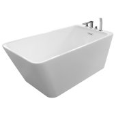 JUSTINIAN 67'' White Contemporary Rectangular Freestanding Acrylic Insulated Bathtub with Faucet Deck, 66-3/4'' W x 29-1/4'' D x 23'' H