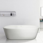 LAVISH 70'' White Contemporary Oval with Deck Freestanding Acrylic Insulated Bathtub, 70'' W x 33'' D x 23'' H
