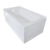 OVO 60'' W x 30'' D White Acrylic Bathtub with Front and End Decorative Integral Skirt Left Hand Drain, 60'' W x 30'' D x 22'' H