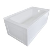 OVO 60'' W x 30'' D White Acrylic Bathtub with Front and End Decorative Integral Skirt Right Hand Drain, 60'' W x 30'' D x 22'' H