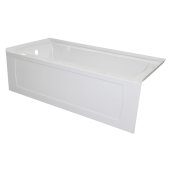 OVO 60'' W x 30'' D White Acrylic Bathtub with Decorative Integral Skirt and Double Flange Left Hand Drain, 60'' W x 30'' D x 20'' H