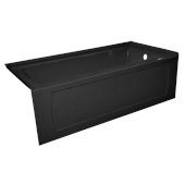 OVO 60'' W x 30'' D Black Acrylic Bathtub with Decorative Integral Skirt and Double Flange Right Hand Drain, 60'' W x 30'' D x 20'' H