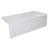 OVO 60'' W x 30'' D White Acrylic Bathtub with Decorative Integral Skirt and Double Flange Right Hand Drain, 60'' W x 30'' D x 20'' H