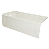 OVO 60'' W x 32'' D Biscuit Acrylic Bathtub with Decorative Integral Skirt and Double Flange Left Hand Drain, 60'' W x 32'' D x 20'' H