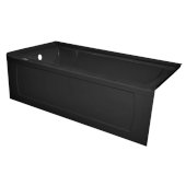 OVO 60'' W x 32'' D Black Acrylic Bathtub with Decorative Integral Skirt and Double Flange Left Hand Drain, 60'' W x 32'' D x 20'' H
