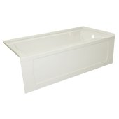 OVO 60'' W x 32'' D Biscuit Acrylic Bathtub with Decorative Integral Skirt and Double Flange Right Hand Drain, 60'' W x 32'' D x 20'' H
