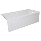 OVO 60'' W x 32'' D White Acrylic Bathtub with Decorative Integral Skirt and Double Flange Right Hand Drain, 60'' W x 32'' D x 20'' H