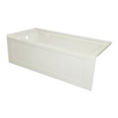 OVO 66'' W x 30'' D Biscuit Acrylic Bathtub with Decorative Integral Skirt and Double Flange Left Hand Drain, 66'' W x 30'' D x 20'' H