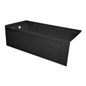 OVO 66'' W x 30'' D Black Acrylic Bathtub with Decorative Integral Skirt and Double Flange Left Hand Drain, 66'' W x 30'' D x 20'' H