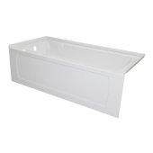 OVO 66'' W x 30'' D White Acrylic Bathtub with Decorative Integral Skirt and Double Flange Left Hand Drain, 66'' W x 30'' D x 20'' H