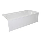 OVO 66'' W x 30'' D White Acrylic Bathtub with Decorative Integral Skirt and Double Flange Right Hand Drain, 66'' W x 30'' D x 20'' H