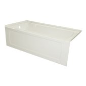 OVO 66'' W x 32'' D Biscuit Acrylic Bathtub with Decorative Integral Skirt and Double Flange Left Hand Drain, 66'' W x 32'' D x 20'' H
