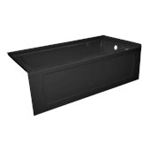 OVO 66'' W x 32'' D Black Acrylic Bathtub with Decorative Integral Skirt and Double Flange Right Hand Drain, 66'' W x 32'' D x 20'' H