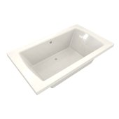 OVO 66'' W x 42'' D Contemporary Biscuit Rectangular Acrylic Drop-In Bathtub with Center Drain, 66'' W x 42'' D x 22'' H