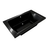 OVO 66'' W x 42'' D Contemporary Black Rectangular Acrylic Drop-In Bathtub with Center Drain, 66'' W x 42'' D x 22'' H