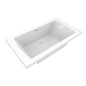 OVO 66'' W x 42'' D Contemporary White Rectangular Acrylic Drop-In Bathtub with Center Drain, 66'' W x 42'' D x 22'' H