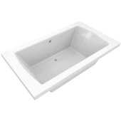 OVO 72'' W x 42'' D Contemporary White Rectangular Acrylic Drop-In Bathtub with Center Drain, 72'' W x 42'' D x 22'' H