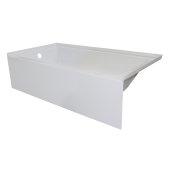 OVOjr 60'' W x 30'' D White Acrylic Bathtub with Smooth Integral Skirt, Left Hand Drain, 60'' W x 30'' D x 16'' H