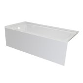 OVO 60'' W x 30'' D White Acrylic Bathtub with Smooth Integral Skirt, Left Hand Drain, 60'' W x 30'' D x 20'' H