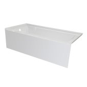OVO 66'' W x 30'' D White Acrylic Bathtub with Smooth Integral Skirt, Left Hand Drain, 66'' W x 30'' D x 20'' H