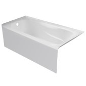 PRO 60'' W x 30'' D White Acrylic Bathtub with Sculpted Interior and Smooth Integral Skirt, Left Hand Drain, 60'' W x 30'' D x 20'' H