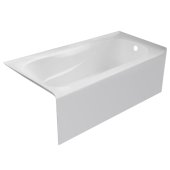 PRO 60'' W x 30'' D White Acrylic Bathtub with Sculpted Interior and Smooth Integral Skirt, Right Hand Drain, 60'' W x 30'' D x 20'' H
