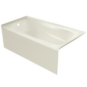 PRO 60'' W x 32'' D Biscuit Acrylic Bathtub with Sculpted Interior and Smooth Integral Skirt, Left Hand Drain, 60'' W x 32'' D x 20'' H