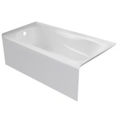PRO 60'' W x 32'' D White Acrylic Bathtub with Sculpted Interior and Smooth Integral Skirt, Left Hand Drain, 60'' W x 32'' D x 20'' H