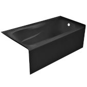 PRO 60'' W x 32'' D Black Acrylic Bathtub with Sculpted Interior and Smooth Integral Skirt, Right Hand Drain, 60'' W x 32'' D x 20'' H