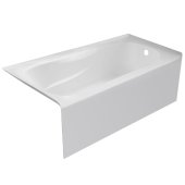 PRO 60'' W x 32'' D White Acrylic Bathtub with Sculpted Interior and Smooth Integral Skirt, Right Hand Drain, 60'' W x 32'' D x 20'' H