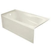 PRO 60'' W x 30'' D Biscuit Acrylic Bathtub with Sculpted Interior and Decorative Integral Skirt, Left Hand Drain, 60'' W x 30'' D x 20'' H