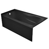 PRO 60'' W x 30'' D Black Acrylic Bathtub with Sculpted Interior and Decorative Integral Skirt, Left Hand Drain, 60'' W x 30'' D x 20'' H