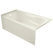 PRO 60'' W x 32'' D Biscuit Acrylic Bathtub with Sculpted Interior and Decorative Integral Skirt, Left Hand Drain, 60'' W x 32'' D x 20'' H
