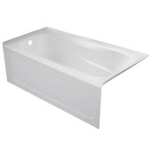 PRO 60'' W x 32'' D White Acrylic Bathtub with Sculpted Interior and Decorative Integral Skirt, Left Hand Drain, 60'' W x 32'' D x 20'' H