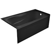 PRO 60'' W x 32'' D Black Acrylic Bathtub with Sculpted Interior and Decorative Integral Skirt, Right Hand Drain, 60'' W x 32'' D x 20'' H