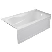 PRO 60'' W x 32'' D White Acrylic Bathtub with Sculpted Interior and Decorative Integral Skirt, Right Hand Drain, 60'' W x 32'' D x 20'' H