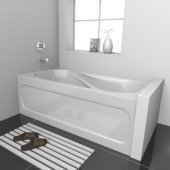 PRO 60'' W x 30'' D White Acrylic Bathtub with Sculpted Interior and Decorative Integral Skirt, Left Hand Drain, 60'' W x 30'' D x 20'' H