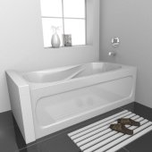 PRO 60'' W x 30'' D White Acrylic Bathtub with Sculpted Interior and Decorative Integral Skirt, Right Hand Drain, 60'' W x 30'' D x 20'' H