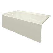 STARK 60'' W x 30'' D Biscuit Acrylic Contemporary Bathtub with Smooth Integral Skirt Left Hand Drain, 60'' W x 30'' D x 22'' H