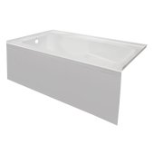 STARK 60'' W x 30'' D White Acrylic Contemporary Bathtub with Smooth Integral Skirt Left Hand Drain, 60'' W x 30'' D x 22'' H