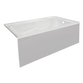 STARK 60'' W x 30'' D White Acrylic Contemporary Bathtub with Smooth Integral Skirt Right Hand Drain, 60'' W x 30'' D x 22'' H