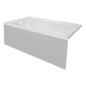 STARK 60'' W x 32'' D White Acrylic Contemporary Bathtub with Smooth Integral Skirt Left Hand Drain, 60'' W x 32'' D x 22'' H