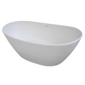 RUBY 64'' White Contemporary Oval Freestanding Matte Cast Resin Insulated Bathtub, 63-3/4'' W x 33'' D x 25'' H